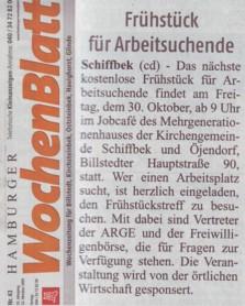 Kostenloses Frühstück für Arbeitsuchende im Job-Cafè Billstedt - Artikel Hamburger Wochenblatt