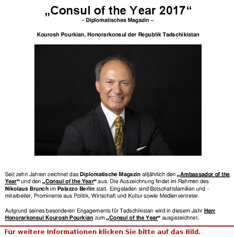 Kourosh Pourkian, Konsul des Jahres 2017
