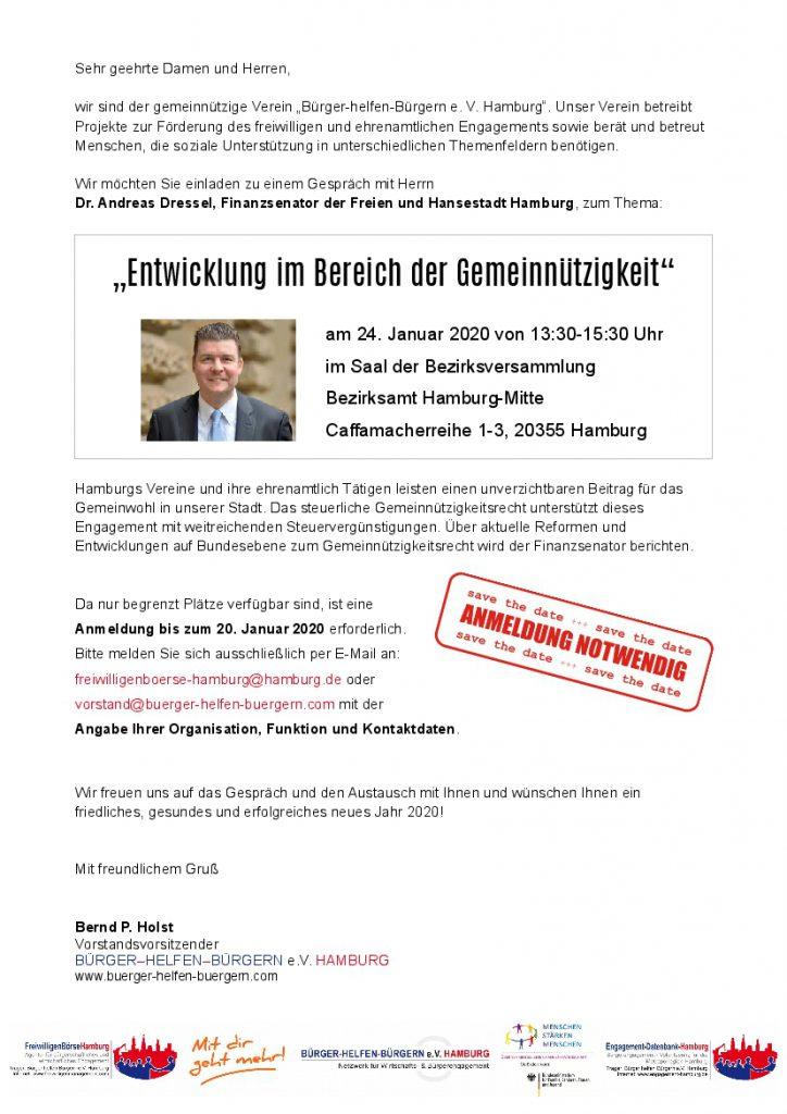 Bürger helfen Bürgern e.V. Hamburg lädt ein zum Gespräch mit Dr. Andreas Dressel zum Thema Entwicklung im Bereich der Gemeinnützigkeit