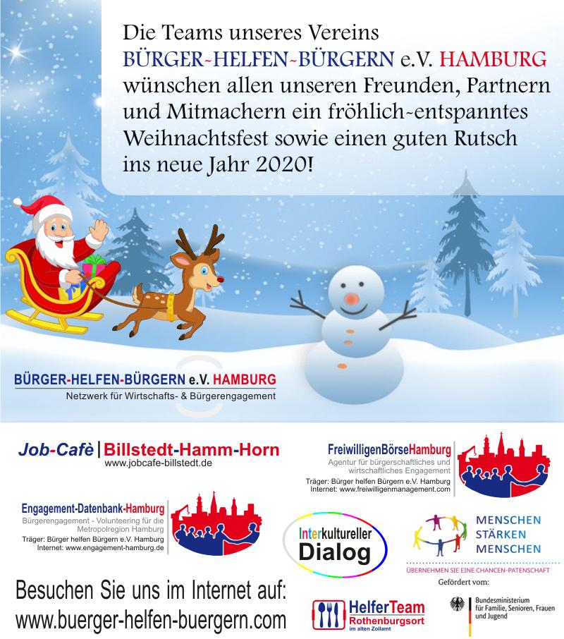 Bürger helfen Bürgern e.V. Hamburg wünscht ein fröhlich-entspanntes Weihnachtsfest & einen guten Rutsch in 2020!