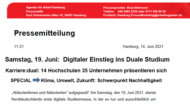 Digitaler Einstieg ins Duale Studium